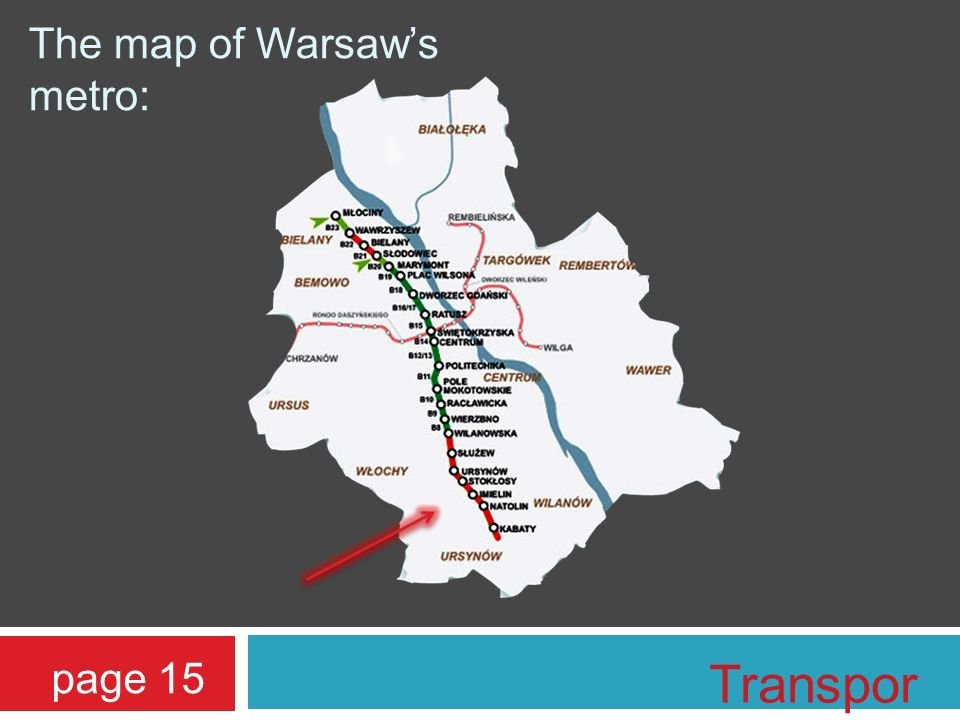 The map of Warsaws metro: page 15 Transpor t