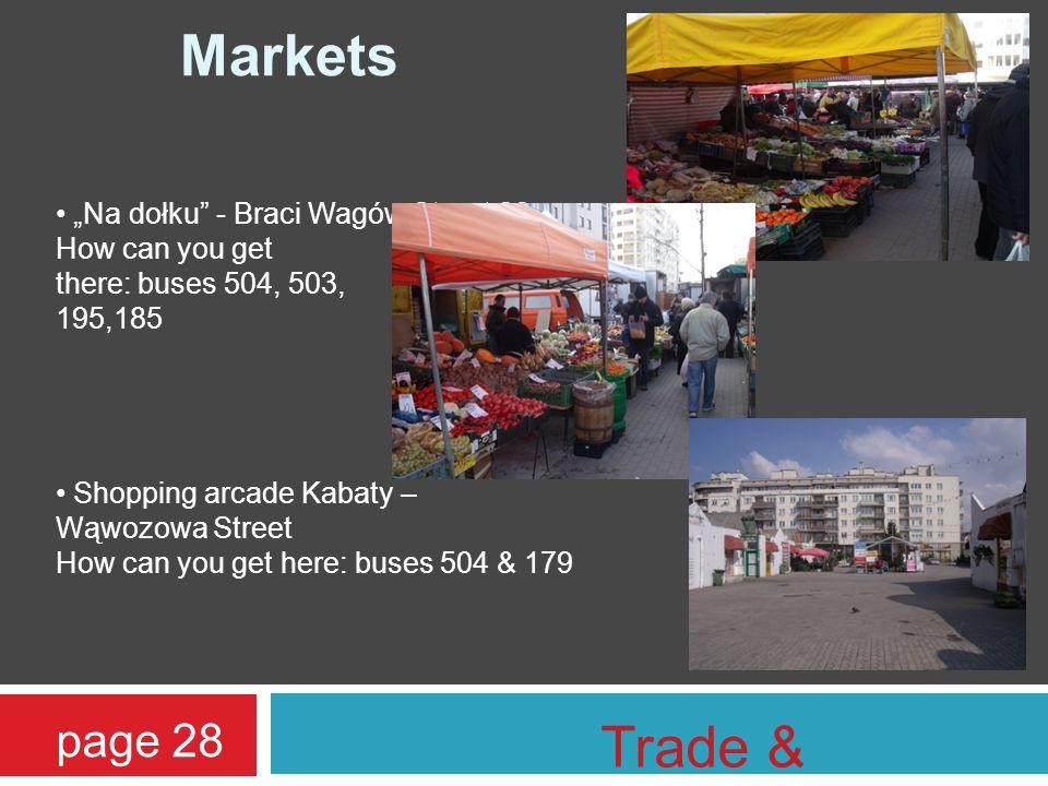 Markets Na dołku - Braci Wagów Street 22; How can you get there: buses 504, 503, 195,185 Shopping arcade Kabaty – Wąwozowa Street How can you get here