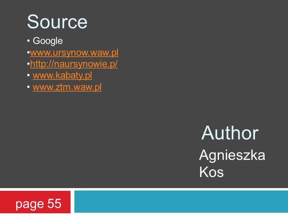 page 55 Source Google www.ursynow.waw.pl http://naursynowie.p/ www.kabaty.pl www.ztm.waw.pl Author Agnieszka Kos
