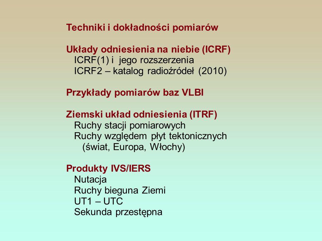 Techniki i dokładności pomiarów Układy odniesienia na niebie (ICRF) ICRF(1) i jego rozszerzenia ICRF2 – katalog radioźródeł (2010) Przykłady pomiarów baz VLBI Ziemski układ odniesienia (ITRF) Ruchy stacji pomiarowych Ruchy względem płyt tektonicznych (świat, Europa, Włochy) Produkty IVS/IERS Nutacja Ruchy bieguna Ziemi UT1 – UTC Sekunda przestępna