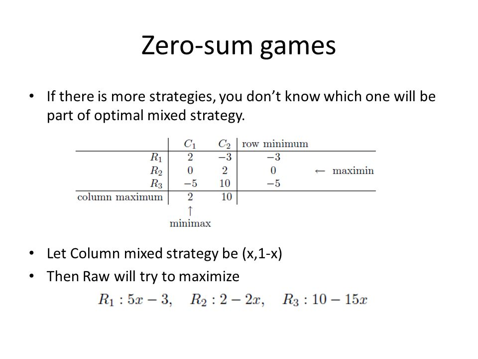 Zero-sum games If there is more strategies, you dont know which one will be part of optimal mixed strategy.