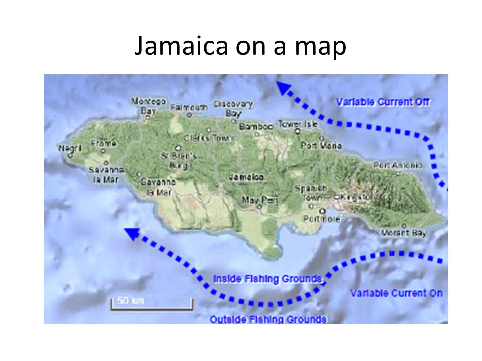 Jamaica on a map