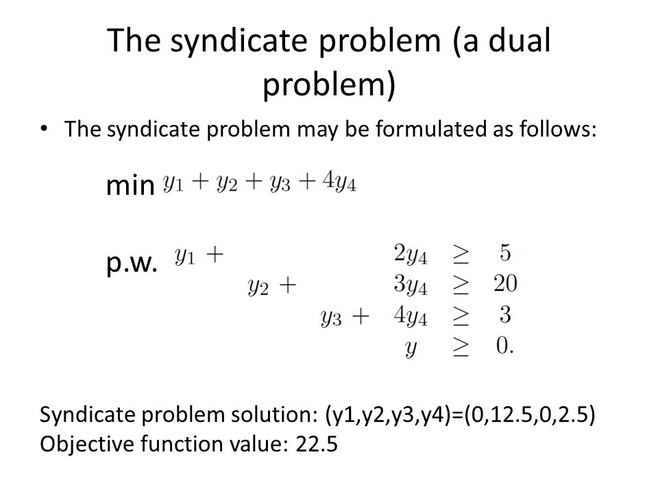 The syndicate problem (a dual problem) The syndicate problem may be formulated as follows: min p.w. Syndicate problem solution: (y1,y2,y3,y4)=(0,12.5,