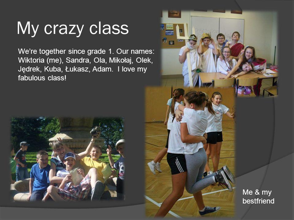 My crazy class Were together since grade 1. Our names: Wiktoria (me), Sandra, Ola, Mikołaj, Olek, Jędrek, Kuba, Łukasz, Adam. I love my fabulous class
