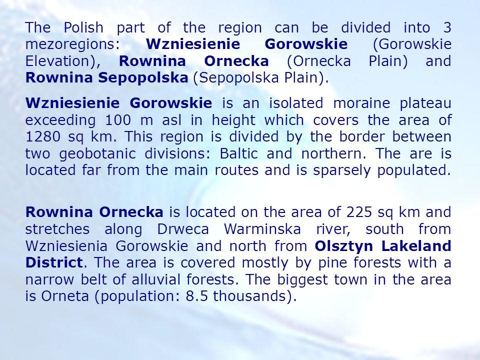 The Polish part of the region can be divided into 3 mezoregions: Wzniesienie Gorowskie (Gorowskie Elevation), Rownina Ornecka (Ornecka Plain) and Rownina Sepopolska (Sepopolska Plain).