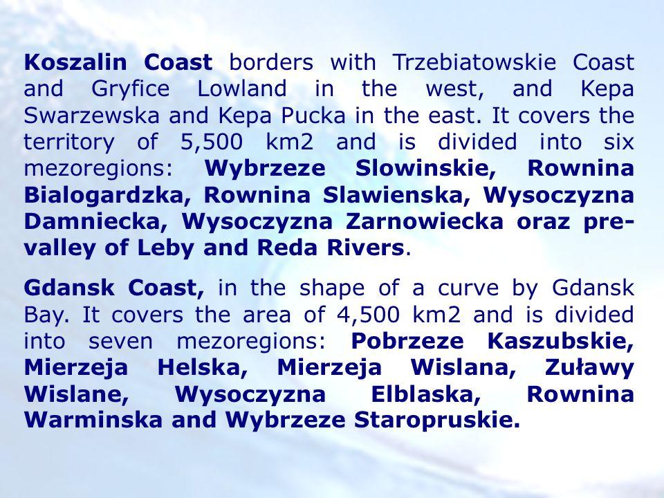Koszalin Coast borders with Trzebiatowskie Coast and Gryfice Lowland in the west, and Kepa Swarzewska and Kepa Pucka in the east. It covers the territ