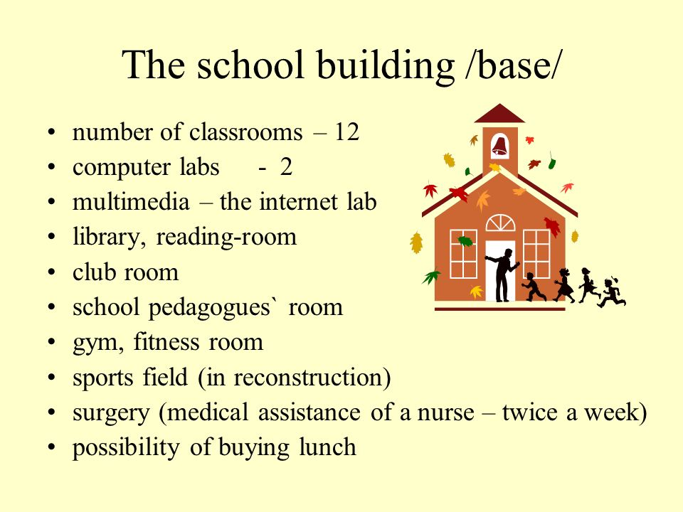 The school building /base/ number of classrooms – 12 computer labs - 2 multimedia – the internet lab library, reading-room club room school pedagogues` room gym, fitness room sports field (in reconstruction) surgery (medical assistance of a nurse – twice a week) possibility of buying lunch