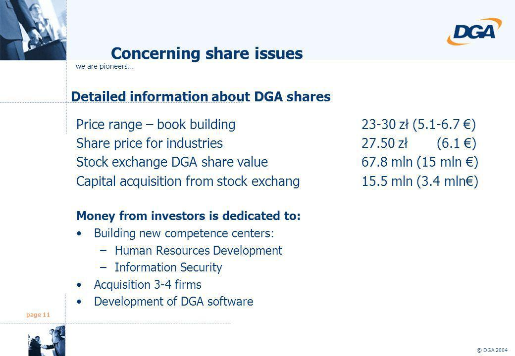 page 11 © DGA 2004 Detailed information about DGA shares Price range – book building23-30 zł (5.1-6.7 ) Share price for industries27.50 zł (6.1 ) Stoc