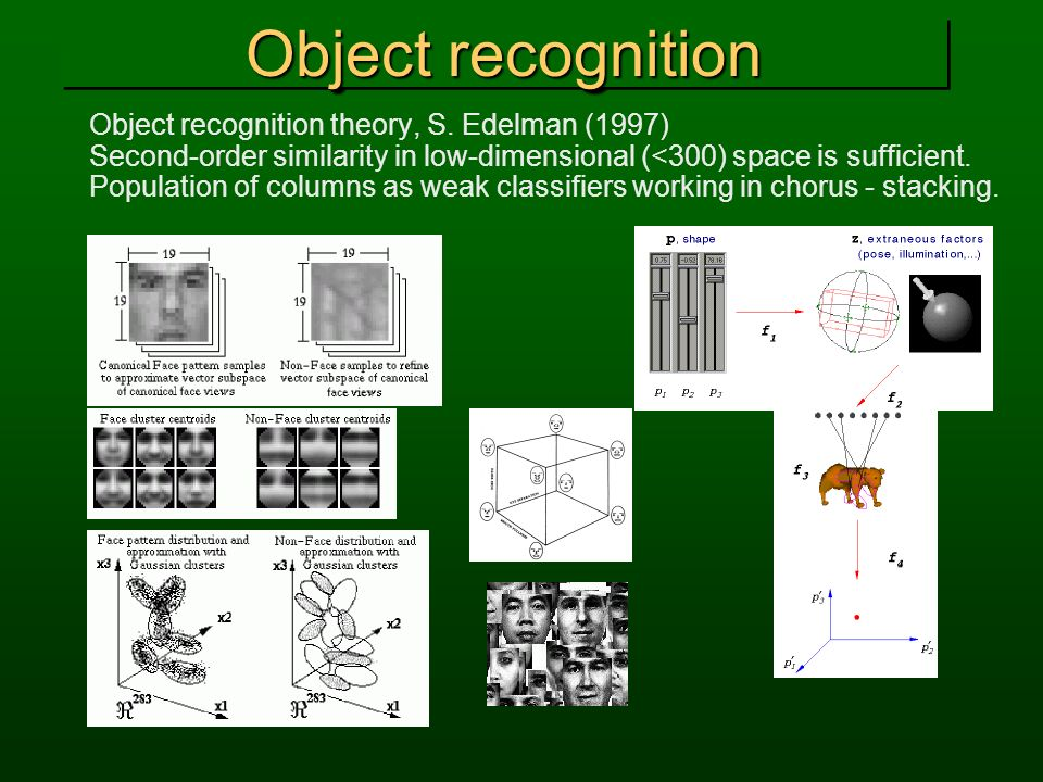 Object recognition Object recognition theory, S. Edelman (1997) Second-order similarity in low-dimensional (<300) space is sufficient. Population of c