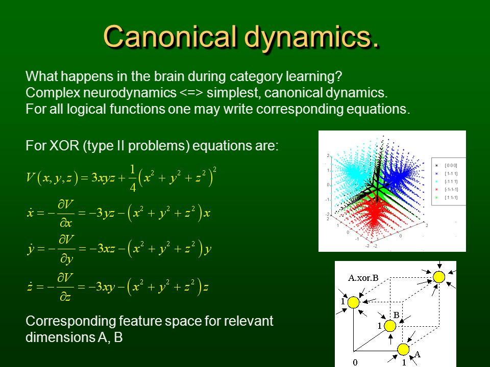 Canonical dynamics. What happens in the brain during category learning? Complex neurodynamics simplest, canonical dynamics. For all logical functions