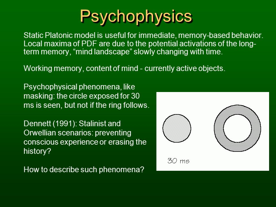 PsychophysicsPsychophysics Static Platonic model is useful for immediate, memory-based behavior. Local maxima of PDF are due to the potential activati