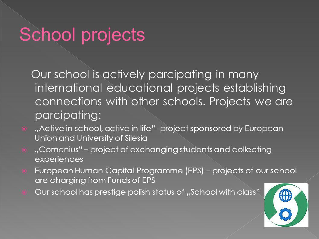 Our school is actively parcipating in many international educational projects establishing connections with other schools. Projects we are parcipating