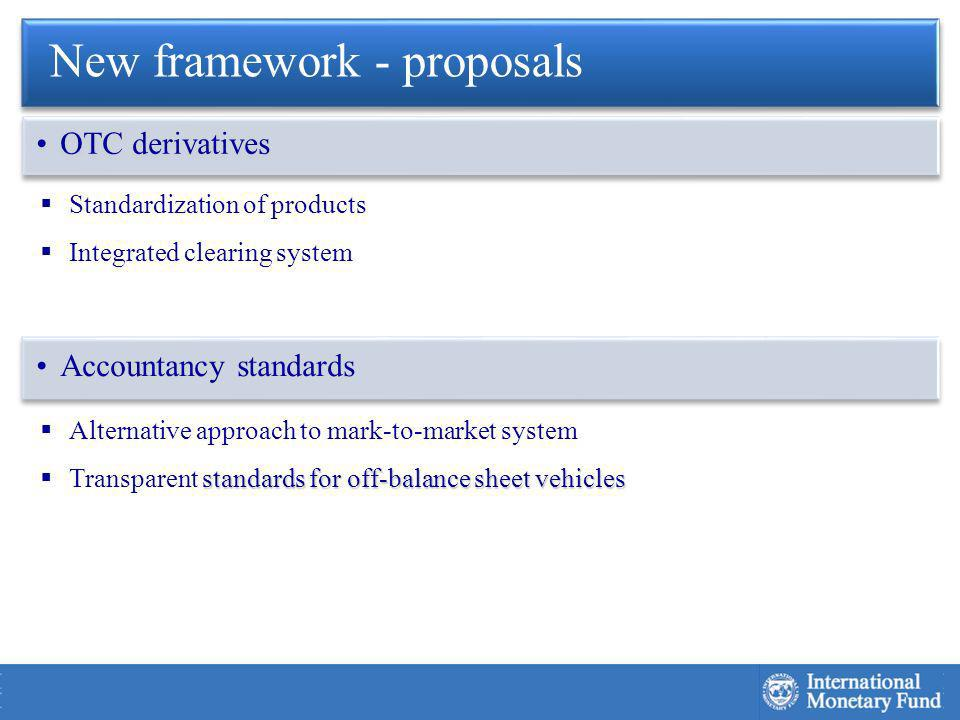 Standardization of products Integrated clearing system Alternative approach to mark-to-market system standards for off-balance sheet vehicles Transparent standards for off-balance sheet vehicles New framework - proposals OTC derivatives Accountancy standards