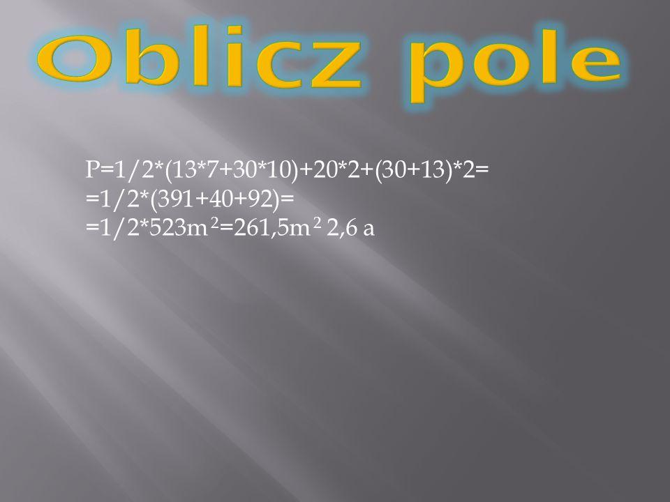 P=1/2*(13*7+30*10)+20*2+(30+13)*2= =1/2*(391+40+92)= =1/2*523m 2 =261,5m 2 2,6 a
