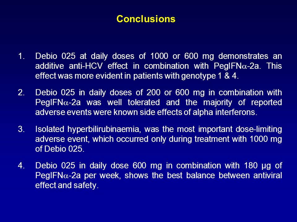 Conclusions 1.Debio 025 at daily doses of 1000 or 600 mg demonstrates an additive anti-HCV effect in combination with PegIFN -2a.