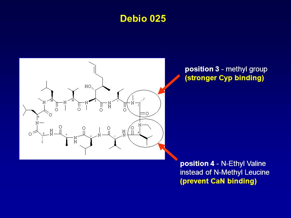 Debio 025 position 4 - N-Ethyl Valine instead of N-Methyl Leucine (prevent CaN binding) position 3 - methyl group (stronger Cyp binding)