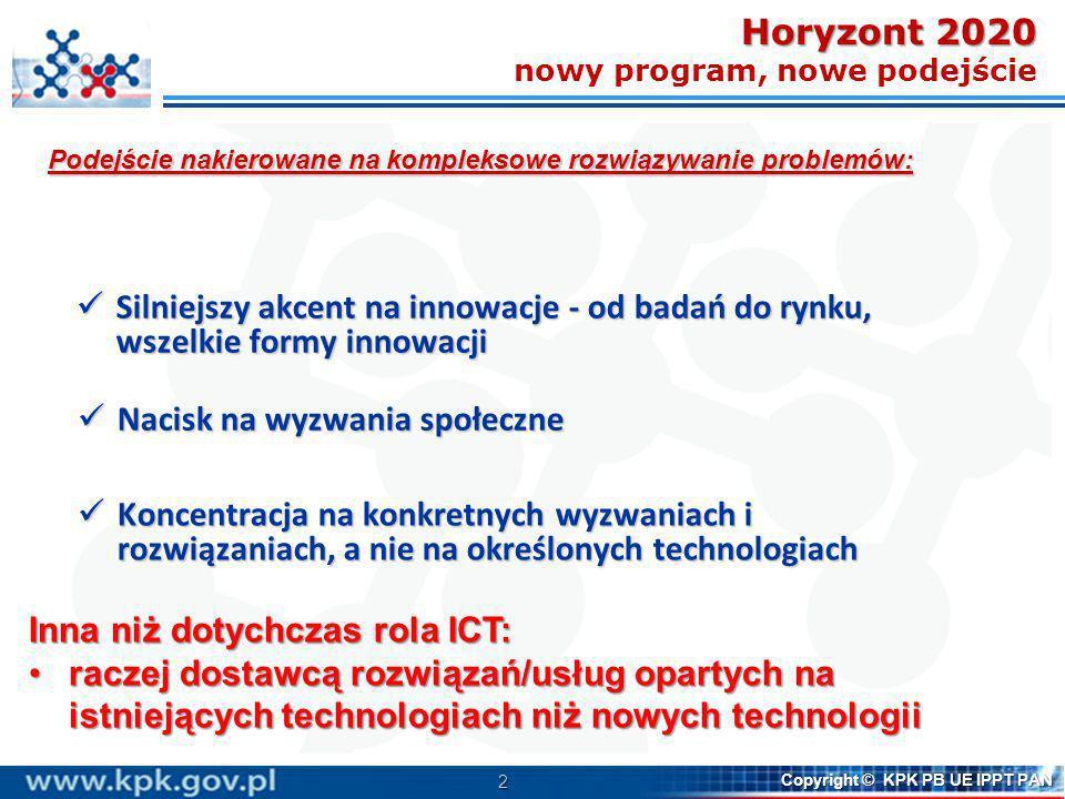 2 Copyright © KPK PB UE IPPT PAN Silniejszy akcent na innowacje - od badań do rynku, wszelkie formy innowacji Silniejszy akcent na innowacje - od bada