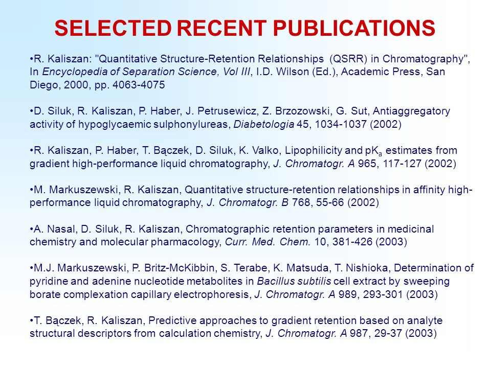 SELECTED RECENT PUBLICATIONS R.
