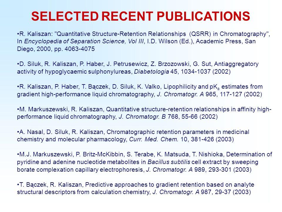 SELECTED RECENT PUBLICATIONS R. Kaliszan:
