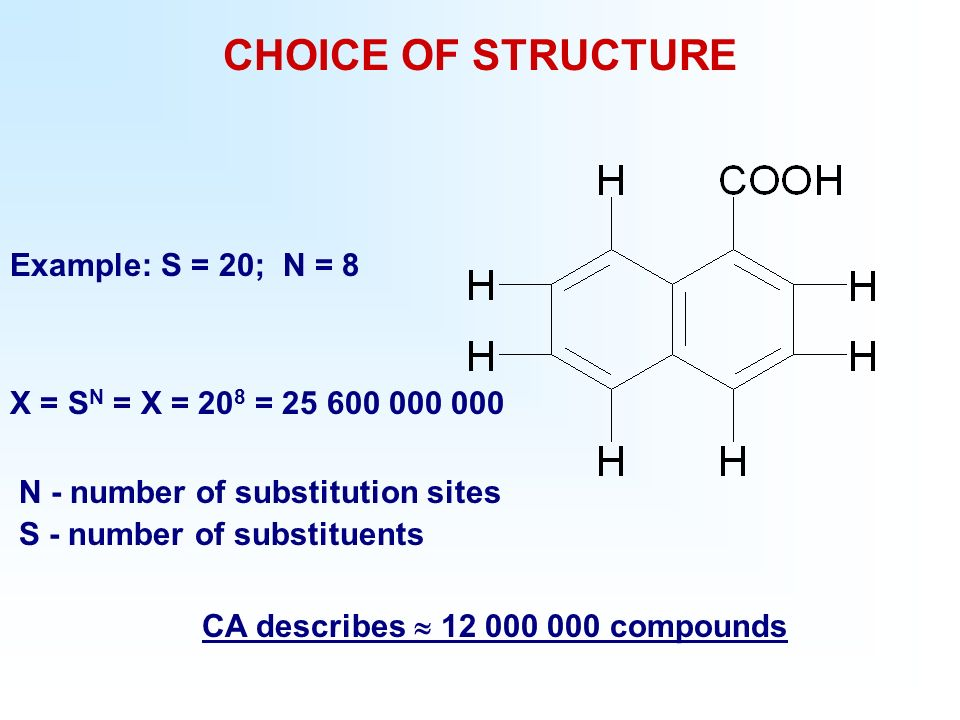 CHOICE OF STRUCTURE Example: S = 20; N = 8 X = S N = X = 20 8 = 25 600 000 000 N - number of substitution sites S - number of substituents CA describes 12 000 000 compounds