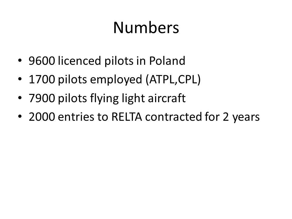 Numbers 9600 licenced pilots in Poland 1700 pilots employed (ATPL,CPL) 7900 pilots flying light aircraft 2000 entries to RELTA contracted for 2 years