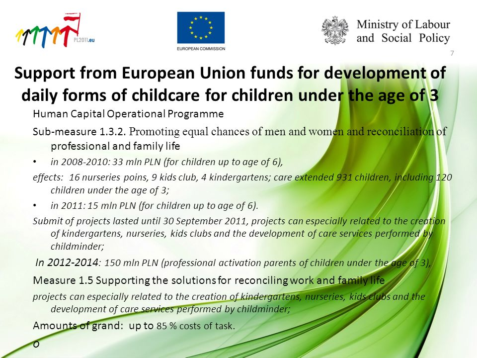 Support from European Union funds for development of daily forms of childcare for children under the age of 3 Human Capital Operational Programme Sub-measure 1.3.2.