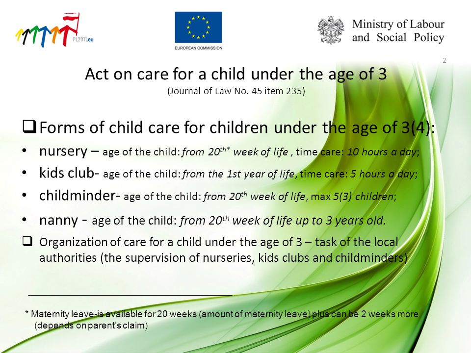 Act on care for a child under the age of 3 (Journal of Law No.