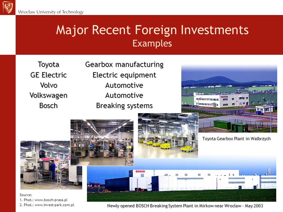 Major Recent Foreign Investments Examples Source: 1.