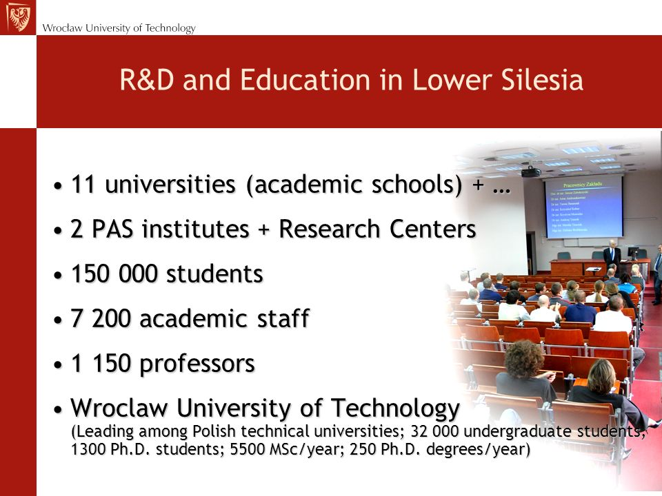 R & D and Education in Lower Silesia 11 universities (academic schools) + …11 universities (academic schools) + … 2 PAS institutes + Research Centers2 PAS institutes + Research Centers 150 000 students150 000 students 7 200 academic staff7 200 academic staff 1 150 professors1 150 professors Wroclaw University of Technology (Leading among Polish technical universities; 32 000 undergraduate students, 1300 Ph.D.