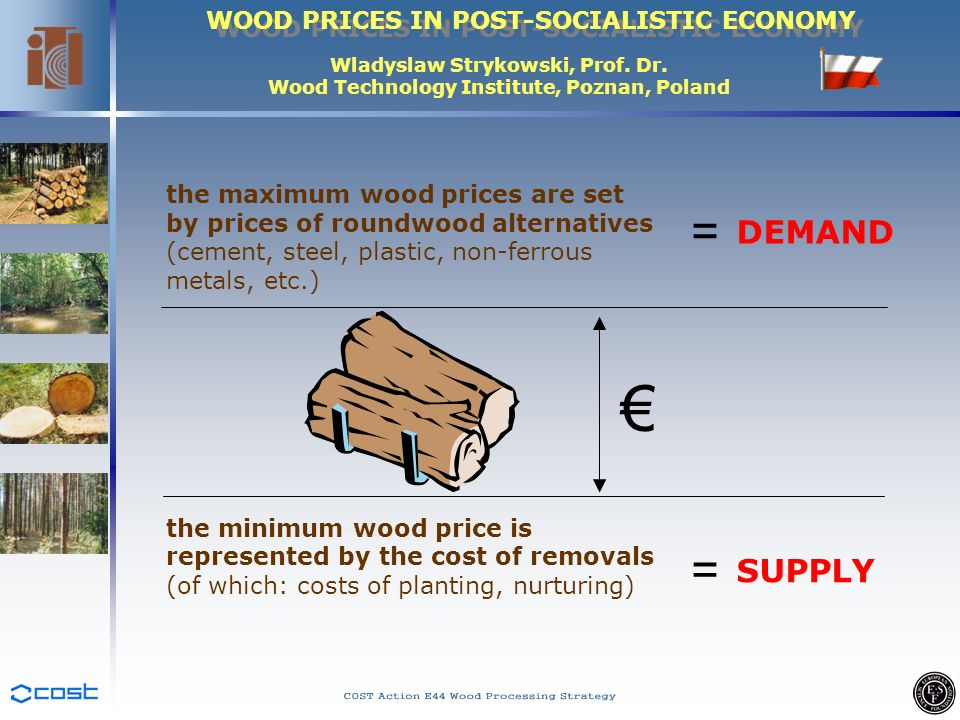 WOOD PRICES IN POST-SOCIALISTIC ECONOMY Wladyslaw Strykowski, Prof. Dr. Wood Technology Institute, Poznan, Poland the maximum wood prices are set by p