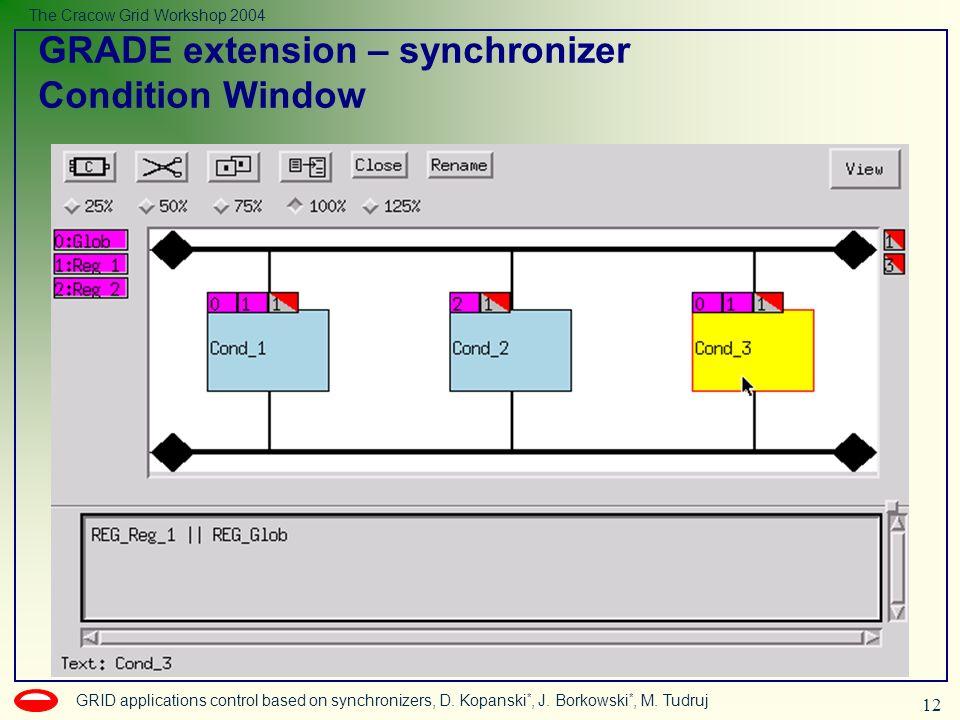 12 GRID applications control based on synchronizers, D. Kopanski *, J. Borkowski *, M. Tudruj The Cracow Grid Workshop 2004 GRADE extension – synchron