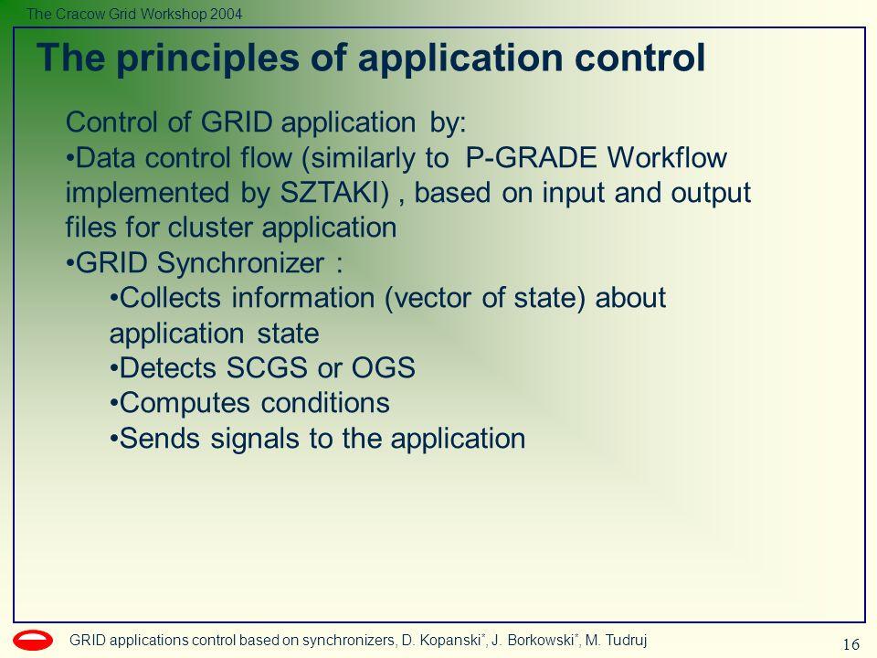 16 GRID applications control based on synchronizers, D. Kopanski *, J. Borkowski *, M. Tudruj The Cracow Grid Workshop 2004 The principles of applicat