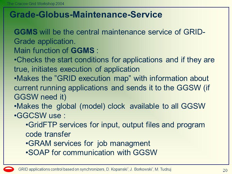 20 GRID applications control based on synchronizers, D. Kopanski *, J. Borkowski *, M. Tudruj The Cracow Grid Workshop 2004 Grade-Globus-Maintenance-S