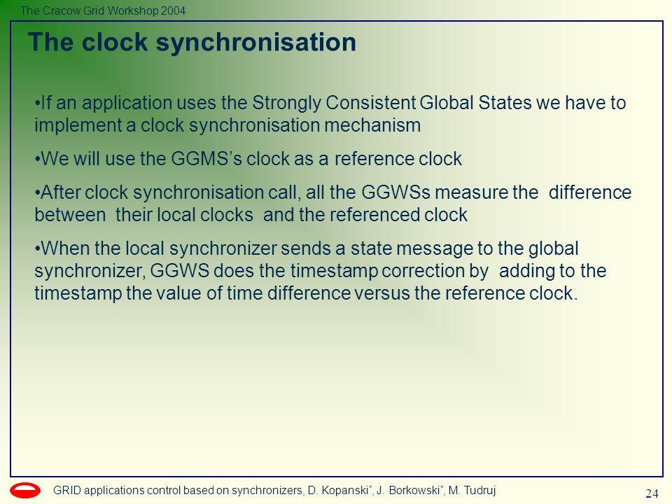 24 GRID applications control based on synchronizers, D. Kopanski *, J. Borkowski *, M. Tudruj The Cracow Grid Workshop 2004 The clock synchronisation