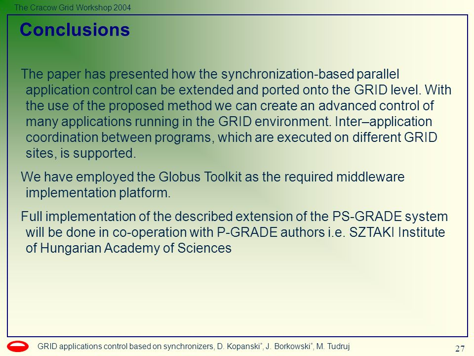 27 GRID applications control based on synchronizers, D.