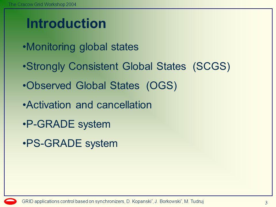 3 GRID applications control based on synchronizers, D. Kopanski *, J. Borkowski *, M. Tudruj The Cracow Grid Workshop 2004 Monitoring global states St