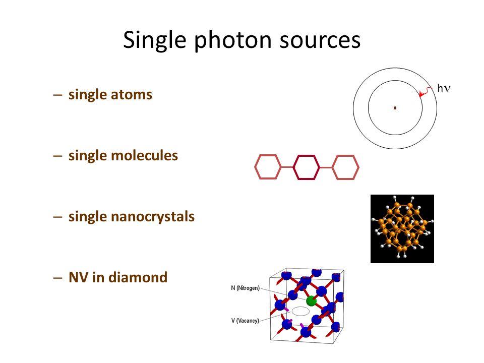 Single photon sources – single atoms – single molecules – single nanocrystals – NV in diamond h