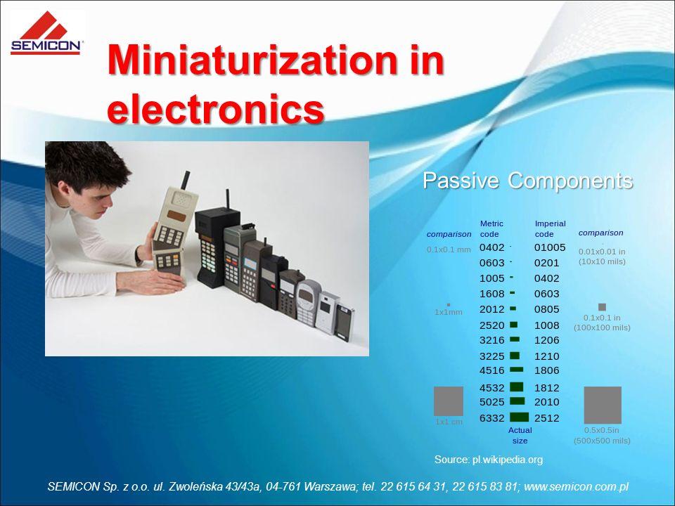 SEMICON Sp. z o.o. ul. Zwoleńska 43/43a, 04-761 Warszawa; tel. 22 615 64 31, 22 615 83 81; www.semicon.com.pl Miniaturization in electronics Source: p