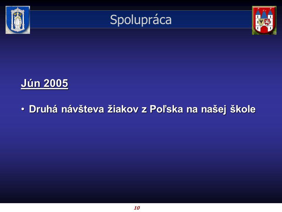 10 Spolupráca Jún 2005 Druhá návšteva žiakov z Poľska na našej školeDruhá návšteva žiakov z Poľska na našej škole