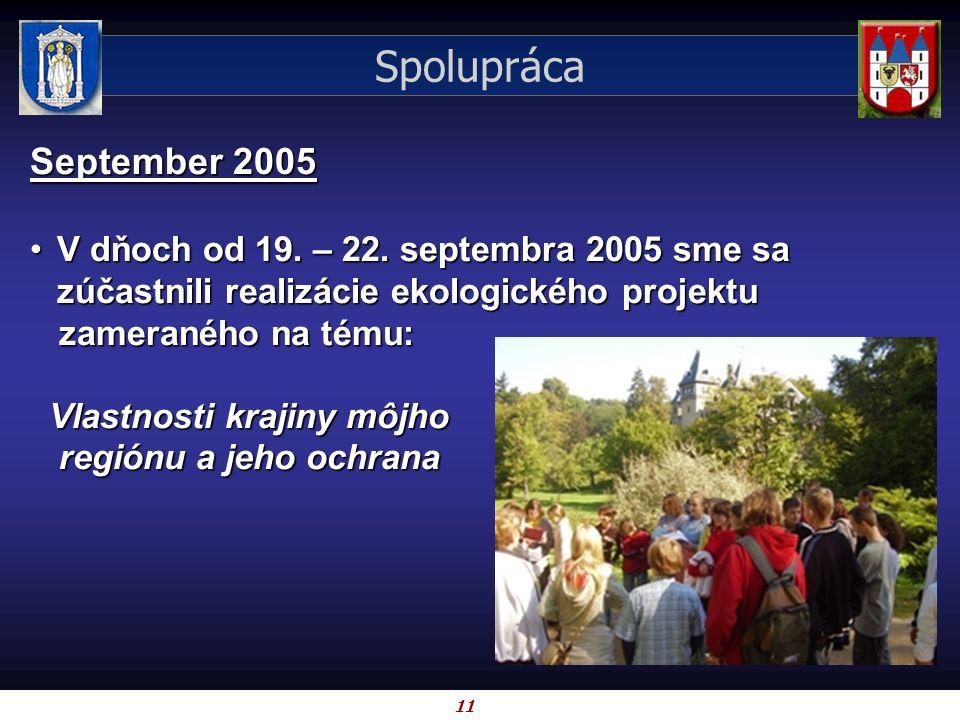 11 Spolupráca September 2005 V dňoch od 19. – 22. septembra 2005 sme sa zúčastnili realizácie ekologického projektuV dňoch od 19. – 22. septembra 2005