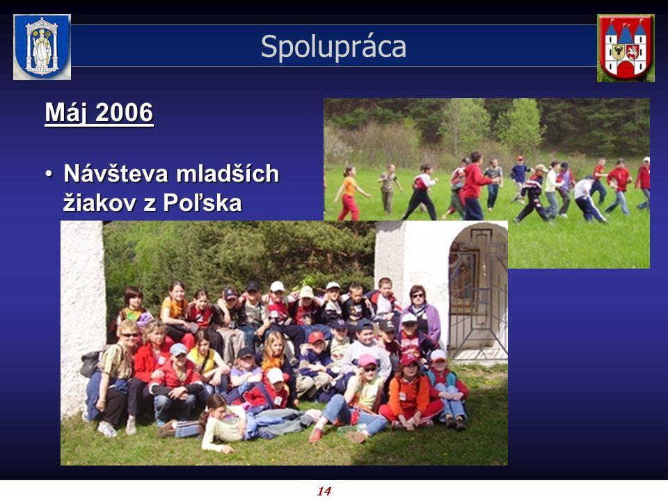 14 Spolupráca Máj 2006 Návšteva mladších žiakov z PoľskaNávšteva mladších žiakov z Poľska