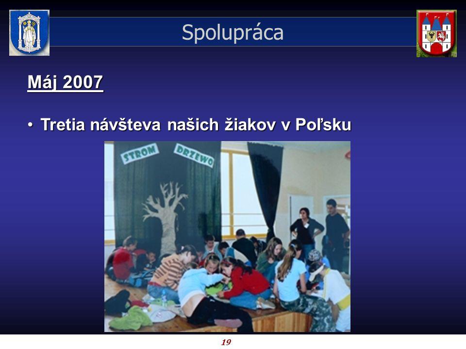 19 Spolupráca Máj 2007 Tretia návšteva našich žiakov v PoľskuTretia návšteva našich žiakov v Poľsku