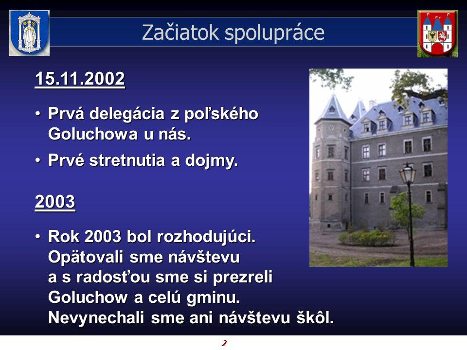 2 Začiatok spolupráce 15.11.2002 Prvá delegácia z poľského Goluchowa u nás.Prvá delegácia z poľského Goluchowa u nás. Prvé stretnutia a dojmy.Prvé str