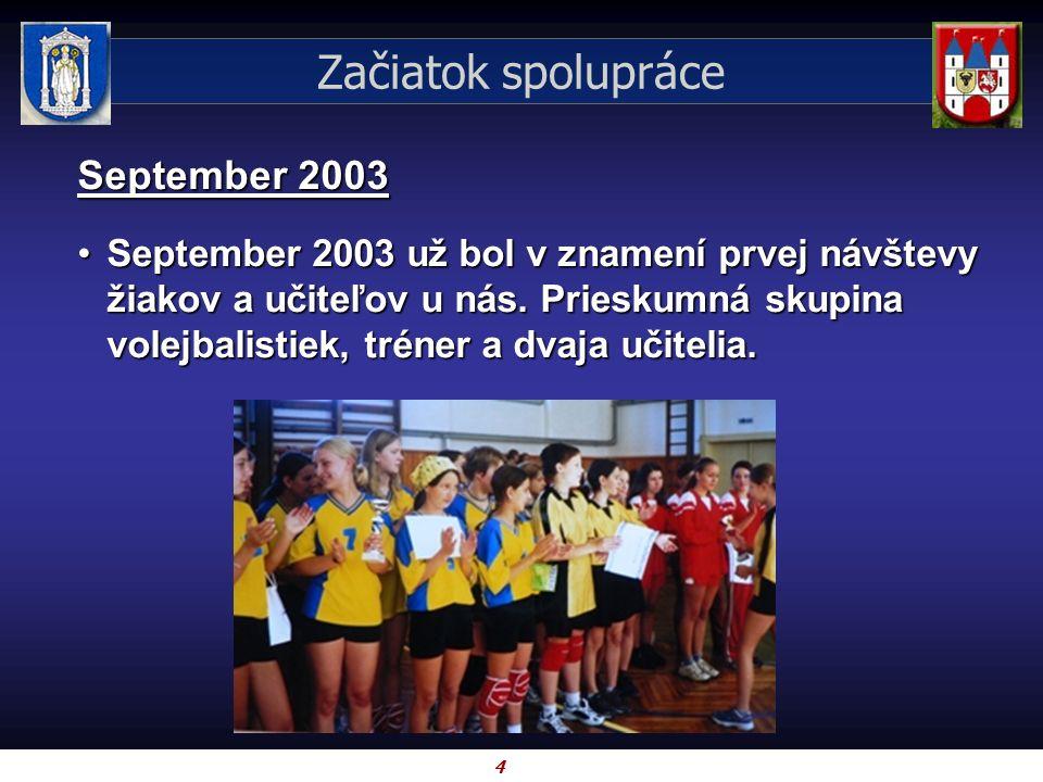 4 September 2003 September 2003 už bol v znamení prvej návštevy žiakov a učiteľov u nás. Prieskumná skupina volejbalistiek, tréner a dvaja učitelia.Se