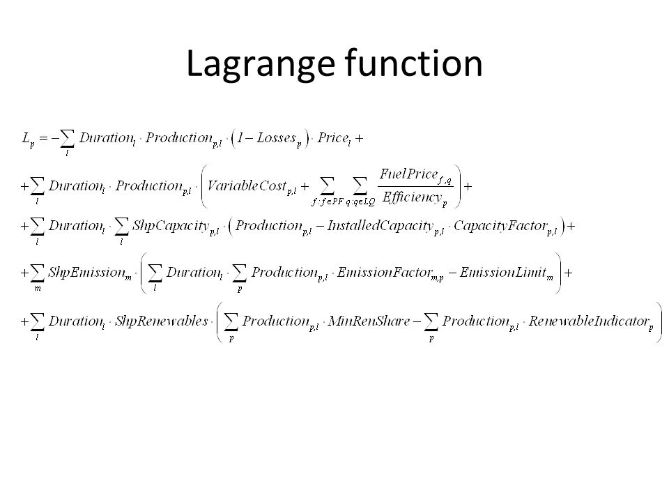 Lagrange function