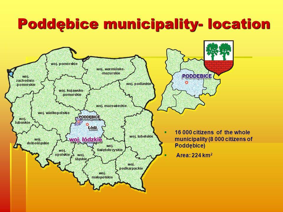 Poddębice municipality- location 16 000 citizens of the whole municipality (8 000 citizens of Poddębice) Area: 224 km 2