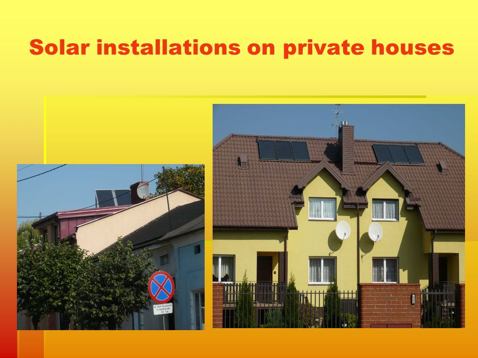 Solar installations on private houses