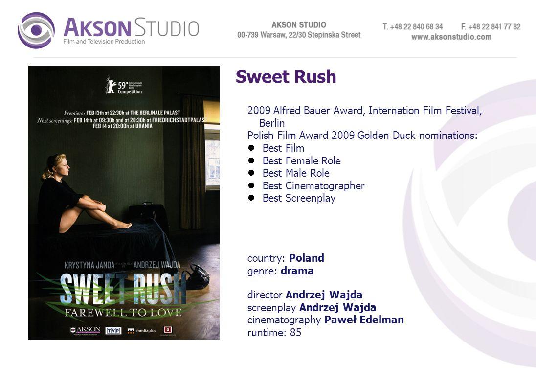Sweet Rush 2009 Alfred Bauer Award, Internation Film Festival, Berlin Polish Film Award 2009 Golden Duck nominations: Best Film Best Female Role Best