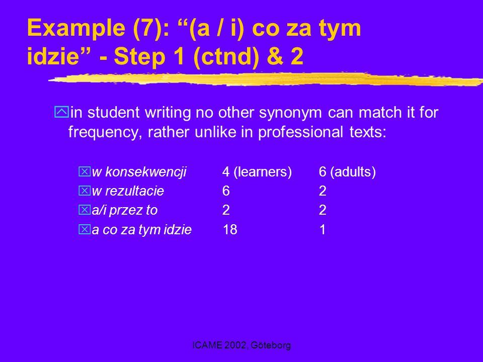 ICAME 2002, Göteborg Example (7): (a / i) co za tym idzie - Step 1 (ctnd) & 2 yin student writing no other synonym can match it for frequency, rather unlike in professional texts: xw konsekwencji4 (learners)6 (adults) xw rezultacie62 xa/i przez to22 xa co za tym idzie181