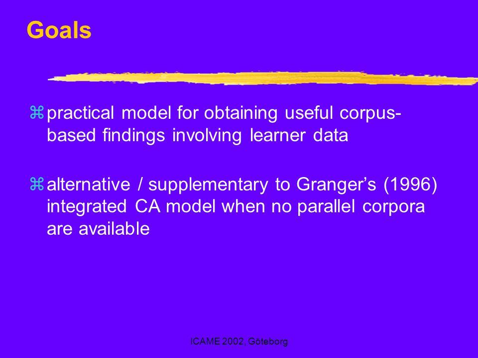 ICAME 2002, Göteborg Goals zpractical model for obtaining useful corpus- based findings involving learner data zalternative / supplementary to Granger
